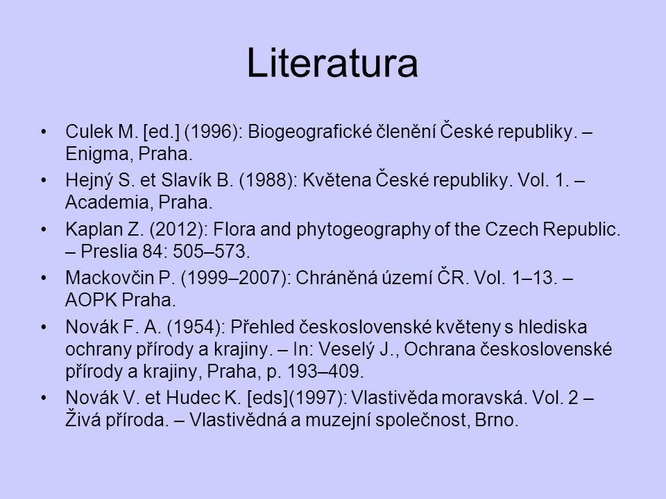 Literatura Culek M. [ed.] (1996): Biogeografické členění České republiky. – Enigma, Praha.